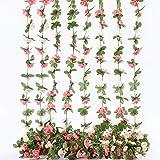 Künstliche Rosenrebe mit grünen Blättern, 8 Stück 66FT