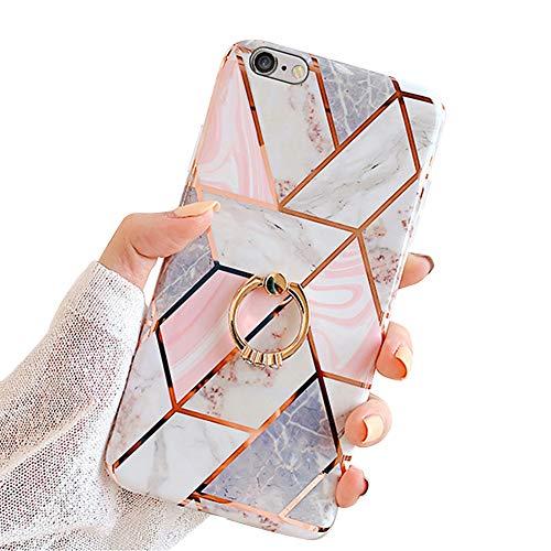 MoreChioce CoqueiPhone6S,compatible avec CoqueiPhone6 Gold,Jolie Géométrie Bling Diamond Coque en Silicone avec Anneau Housse de Protection Transparente Bumper Case Defender,Bague Marbre Rose