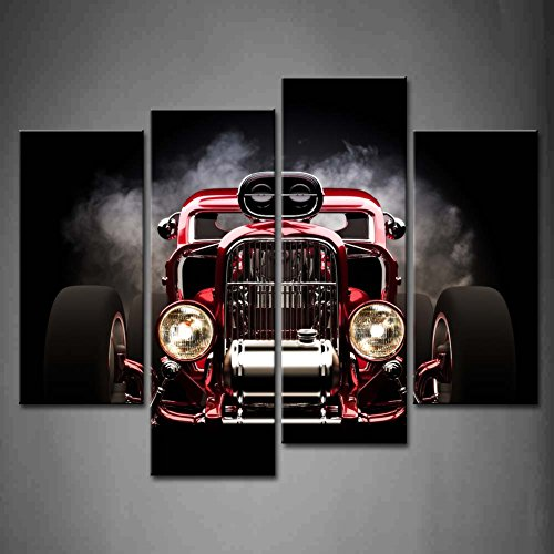 4 Panel Wall Art Hot Rod with Smoke Background On Black Painting The Picture Print On Canvas Car Pictures for Home Decor Decoration Gift Piece