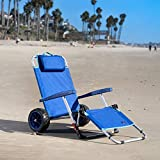 MacSports 2-in-1 Outdoor Beach Cart + Folding Lounge Chair w/Lock | Tanning, Sunbathing, Lounging, Pool, Backyard, Porch | Portable, Collapsible with All-Terrain Wheels | Blue w/Lock