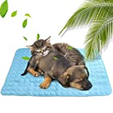 Maxjaa Dog Cooling Mat Breathable Mesh Ice Silk Self-Cooling Pet Mat Pad Reversible Dog Cooling Cushion Blanket Machine Washable Summer Cooling Mat for Pets Small Medium Large Dogs Cats 39.4