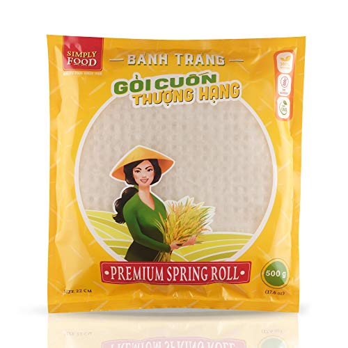22 cm Round Premium Spring Roll Rice Paper Wrapper by SIMPLY FOOD (Banh Trang Goi Cuon) - Easy to Use, Gluten-Free, Non-GMO, 100% Natural