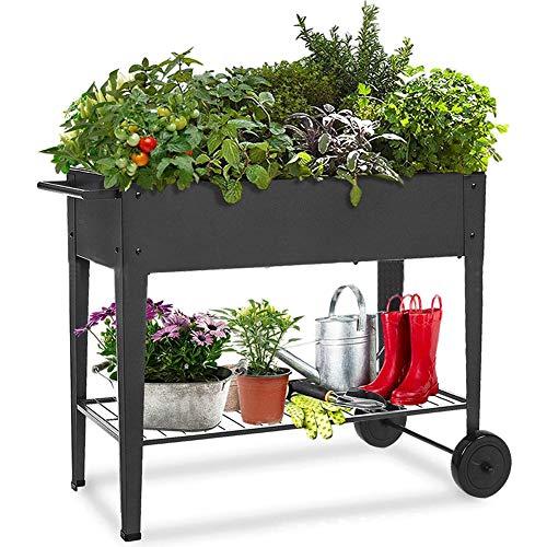 Jardinera de exterior con ruedas, cama elevada, mueble para plantas, 84 x 31 x 80 cm, color negro