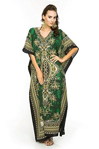 NEU Damen überdimensional Maxi Kimono Kaftan Tunika Kaftan Kleid gratis Größe - green-17007, 52-54