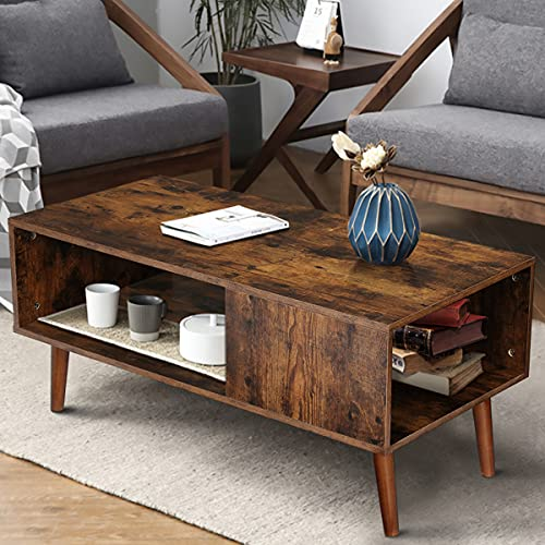 Modern Coffee Table Wood Coffee Tables for Living Room Small Mid Century Boho Coffee Table with...
