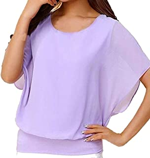 Dubocu Women's Top, Loose Short Sleeve Batwing Sleeve Chiffon T-Shirt Blouse