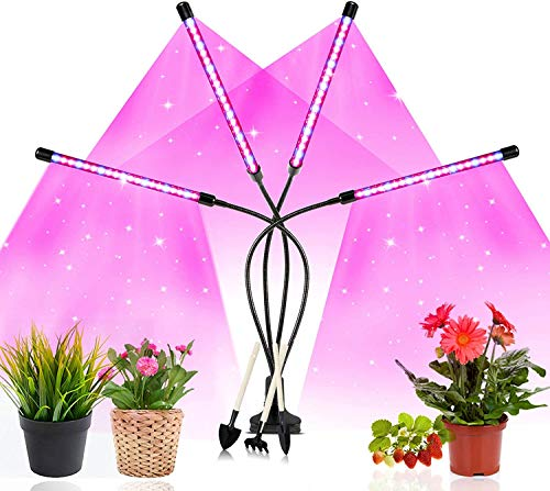 LED Grow Lamp for Indoor Plants,80W Full Spectrum & 10 Dimmable Brightness with 80LED Led Grow Light, 3 Switch Modes & 3 Auto Timer for Seeding Flowering Fruiting (Grow Lamp Red & Bule)