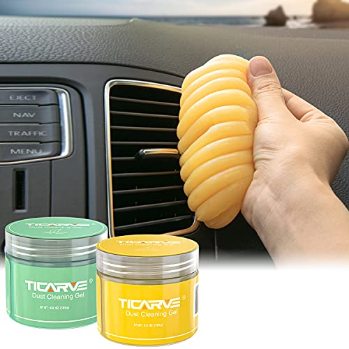 TICARVE Cleaning Gel for Car Cleaning Putty Car Slime for Cleaning Car Detailing Putty Detail Tools Car Interior Cleaner Automotive Car Cleaning Kits Keyboard Cleaner Yellow Green (2Pack)