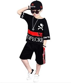 COCO1YA(ココイチヤ) ダンス衣装 子供 男の子 半袖Tシャツ 半ズボン 上下2点セット 春 夏 運動着 スポーツ着 コットン キッズ 90-140cm