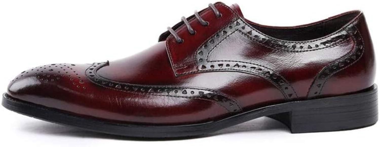MKJYDM Men's Business shoes Breathable Men's shoes Comfortable Lace Wedding shoes Wear-Resistant 37-44 Yards Men's Leather shoes (color   Red, Size   37 EU)