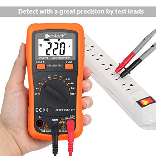 Neoteck Auto Ranging Digital Multimeter AC/DC Voltage Current Ohm Capacitance Frequency Diode Transistor Audible Continuity, Multi Tester with Backlit LCD