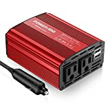 POWERADD 300W Car Power Inverter Adapter DC 12V to 110V AC with Dual Outlets & Dual USB Ports for Cellphones, Laptops, Tablets, Breast Pumps, Nebulizer - RED