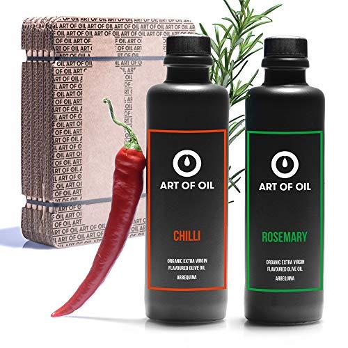 ART OF OIL Olivenöl Geschenkset | Bio Olivenöl mit Rosmarin & Olivenöl mit Chili je 200ml | Ideales Grillzubehör | Tolles Hobby Koch Geschenk