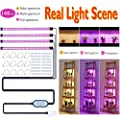 [4-Pack] LED Grow Light Tube for Plants,144 LED 72W 4-Tier Plant Stand Light,Three Kinds Red/Blue/White Spectra Suitable for Many Types of Plants,4H/8H/12H Cycle Timing,Indoor Greenhouse Plant Light