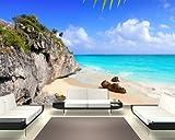 Bilderdepot24 Fotomural Playa Ideal en Tulum - México 310x200 cm - Papel Tejido-no Tejido. Fotomurales - Papel Pintado - la fabricación Made in Germany!