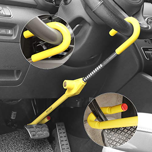 amzdeal Lenkradschloss, Lenkradkralle für Auto, unversale Diebstahlsicherung und Lenkradsperre mit 3 Sicherheitsschlüsseln