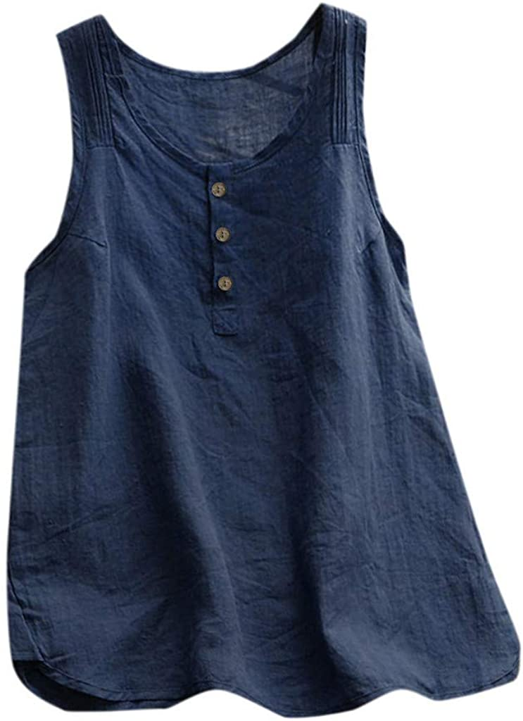 Sleeveless Tank Now free shipping Mesa Mall Tops for Women Vintage Solid O Color Linen Neck