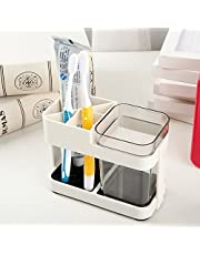 Inditradition Toothbrush Toothpaste Holder with Removable Cup | Bathroom Toiletries Organizer Stand (Acrylic, Beige)