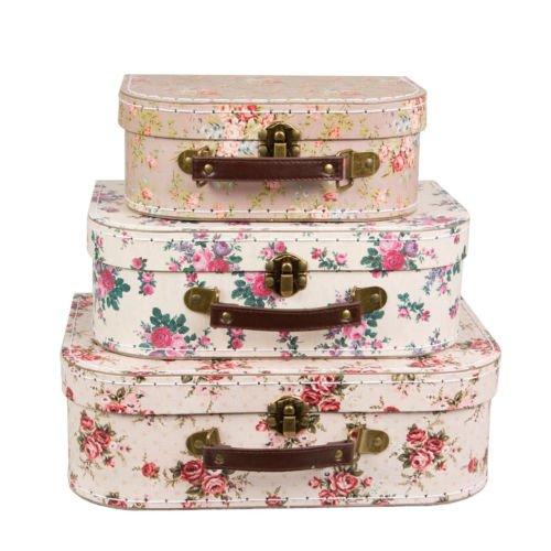 Sass & Belle - Juego de 3maletas de almacenamiento estilo retro Retro Vintage Rosa Floral