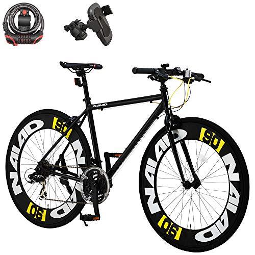 カノーバー(CANOVER) クロスバイク 自転車 鍵 スマホホルダーセット 21段変速 90mmエアロディープリム アルミフレーム CAC-023 NAIAD ブラック 49890