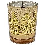 Boho Henna Mercury Glass Votive Candle Holder 2.75' Gold - Excellent Home Decor - Indoor & Outdoor