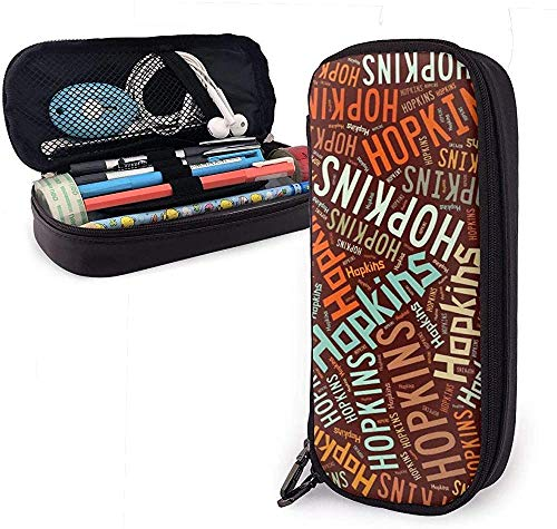 Astucci Hopkins - American Surname Big Capacity Leather Pencil Case Pencil Pen Stationery Holder Large Storage Pouch Box Organizer