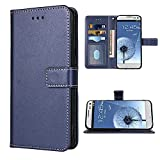 FDCWTSH Compatible with Samsung Galaxy S3 Wallet Case Wrist Strap Lanyard Leather Flip Cover Card Holder Stand Cell Accessories Phone Cases for GalaxyS3 Neo I9300 Women Men Blue