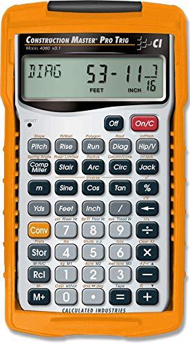 Calculated Industries 4080 Construction Master Pro Trig geavanceerde rekenmachine met volledige trigonometrische functies, 11 jaar, 16 mm x 63,5 mm, display, 1,5 V, zilverkleurig