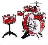 HFRTKLSAW Jazz Drum Kit Instrument Toy - Batería con Taburete Y 2 Baquetas, Batería para Niños,Rojo