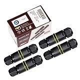 SOMELINE Caja de conexiones a prueba de agua con cable exterior, conector IP68 y acoplador externo de manga (Paquete de 4) 4mm-8mm