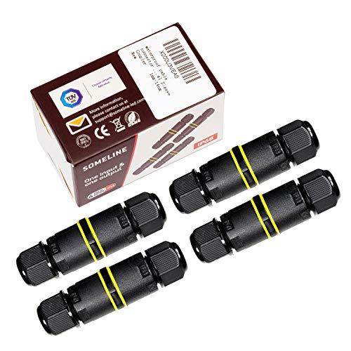 Kabelverbinder Wasserdicht IP68 Verbindungsbox Verbindungsmuffe für Ø4-8 mm Kabeldurchmesser SOMELINE 4er-Pack schwarz