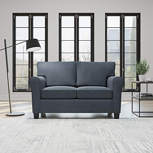 Everlane Home Willow Upholstered Sofa and Loveseat with Rolled Arms – Contemporary, Casual, Cozy, and Comfortable Love Seats, Midnight Navy