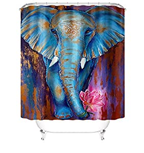 Colorful Elephant Shower Curtain Wild Animal Painting Art Print Wildlife African Elephant with Lotus Waterproof Polyester Fabric Vintage Bath Curtain Set with Hooks Bathroom Decor