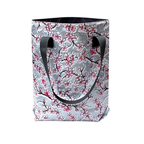 Borsa shopper donna - borsa per la speza, colori, in tela cerata, impermeabili, retro, Hanami argento