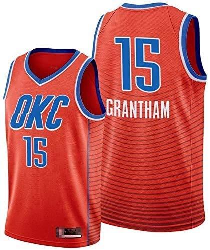 YB-DD Maglia da Basket Maschile NBA Thba Thunders 15# Grantham Classico Tessuto Traspirante Classico retrò Moda Senza Maniche T-Shirt,S:165~170cm