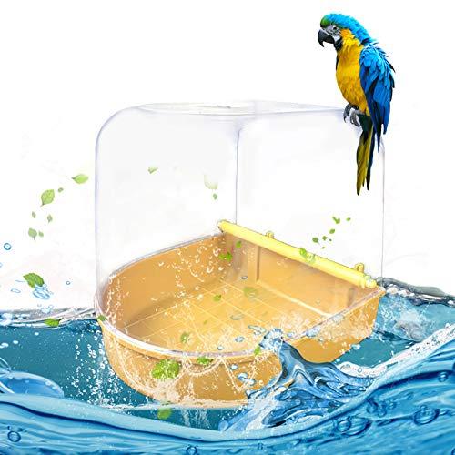 Bañera para loros para jaulas, colgar baños de pájaros, caseta de baño transparente, caja de ducha, pájaro, jaula, decoración para pájaros, loros, ducha de agua
