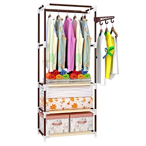 Perchero de pie para colgar ropa en el dormitorio, percha, tendedero, estante inferior y ganchos laterales, para cuarto de baño, lavandería, balcón (3 niveles de café)