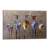 Xykhlj Animal Dibujo Cinco Especies de Cebra_DIY Pintura al óleo Digital-Lienzo preimpreso-Pintura por Número de Kits_40x60cm Sin Marco
