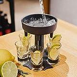 6 Schnapsglas Ausgießer und Halter -Dispenser für Füllflüssigkeiten Mehrere 6 Shot-Dispenser Schuss-Zufuhr, für Spirituosen Scotch Bourbon Wodka Cocktail Shots Dispenser Bar,Grau
