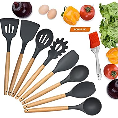 BUDNLE Silicone Kitchen Utensils 9-Piece BONUS Silicone Pastry Brush Kitchen -Heat Resistant Cooking Utensil Set with Natural Hard Wood Handle, Non-Stick, BPA Free (Dark Gray)