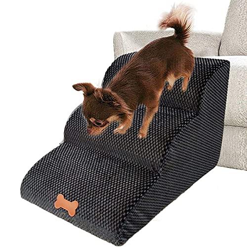 Bounabay Escalera de 3 peldaños para mascotas, perros y gatos, con funda de felpa, escalera para perros pequeños, Teddy, escalera de esponja, 60 x 42 x 39 cm (A)