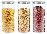 Lawei 3 pack Glass Storage Jars with Sealed Bamboo Lids - 51 oz...