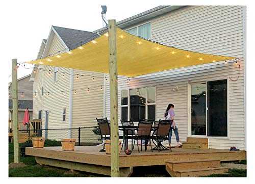 diig Patio Sun Shade Sail Canopy, 6' x 8' Rectangle Shade Cloth UV Block Sunshade Fabric - Outdoor Cover Awning Shelter for Pergola Backyard Garden Yard (Sand Color)