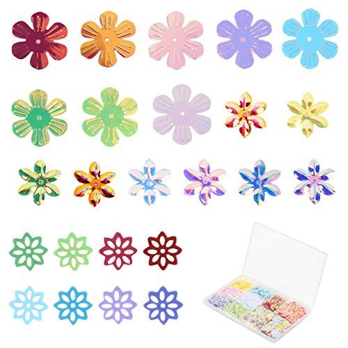 Paillettes floreali SEELOK per artigianato, 120 grammi Paillettes sciolte Paillettes colorate per cucire ricami Biglietti d'auguri Decorazioni per cucire Fai da te (3 disegni)