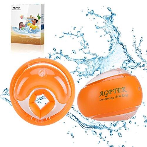 AGPTEK opblaasbare armband kinderbeugels opblaasbare ringarm zwembad voor baby, zwemboei water trainingsvleugel voor kinderen van 3-14 jaar, 19-40 kg met opblaaspomp, oranje