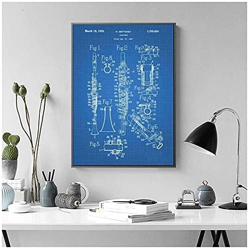 LIUYUEKAI Imagen de patente de clarinete impresa en lienzo póster de arte de pared para decoración de dormitorio 40x60cm sin marco