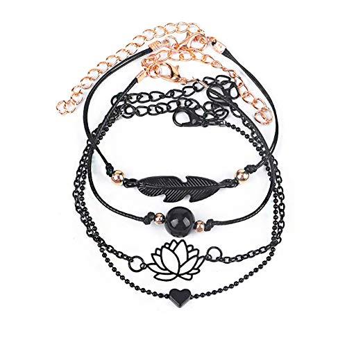 XQxiqi689sy Bracelet Bangle Hollow Lotus Hoja Faux Perla encanto Trenzado Pulsera Círculo Joyas Regalo 4pcs / Set negro