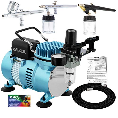 Master Airbrush Cool Runner II Dual Fan Air Compressor Professional Airbrushing System Kit with 3 Airbrush Sets, 0.3 mm Gravity & 0.35, 0.8 mm Siphon Feed - Hose Holder, How To Airbrush Learning Guide