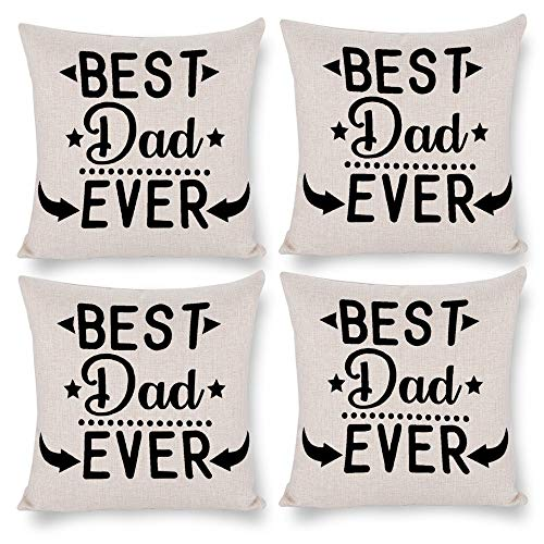 No branded Pack 4,Pillow Covers 18x18 Set of 4,Throw Pillow Cases Home Decor 4pcs Best Dad Ever Farmhouse Square Pillow Cushion Pillowcase for Sofa Bedroom Car Patio Chair Nursery