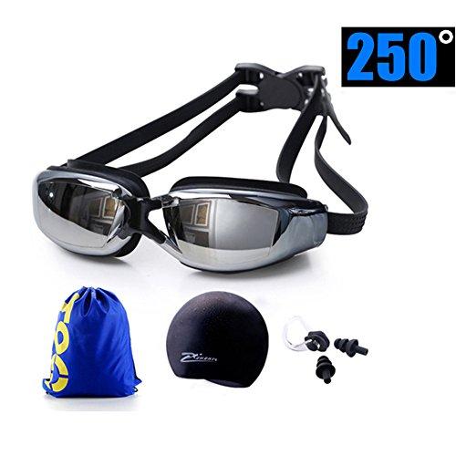 PPKD Kurzsichtige Schwimmbrille Brillen für Erwachsene Damen und Herren HD Wasserdicht Anti-Fog verstellbar Schwimmen Brille Klare Visuelle Badekappe Schwimmen Paket Silikon Ohrstöpsel Nase Clip, 300°
